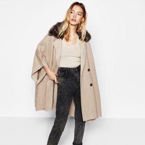 Zara Knit Jacket with Faux Fur Collar